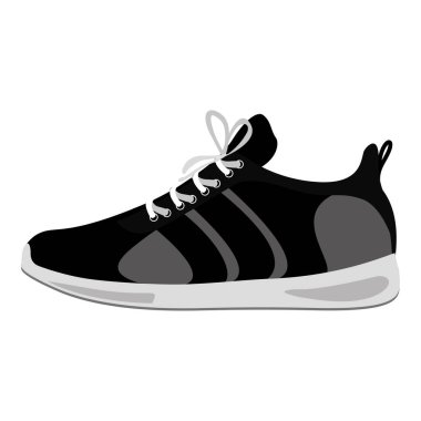 black Fitness sneakers design icon