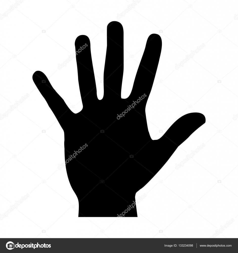 Black silhouette hand open icon — Stock Vector ...