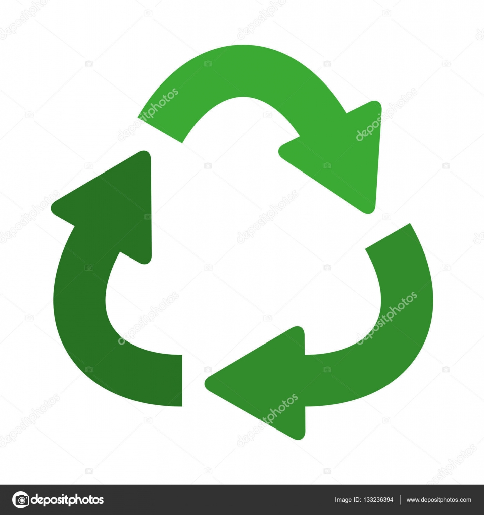 green separate recycling symbol shape with arrows � stock