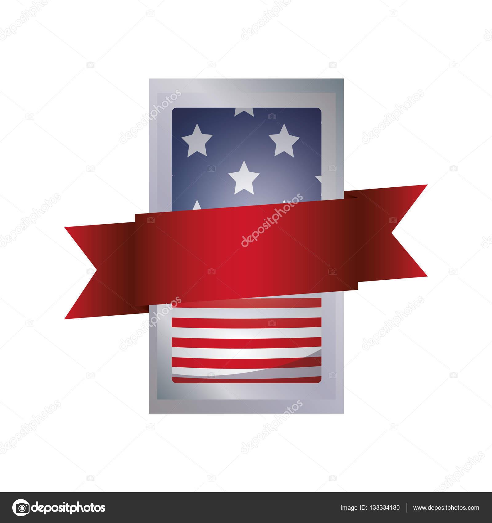 Isolierte Usa-Flagge im Rahmen-design — Stockvektor © grgroupstock ...