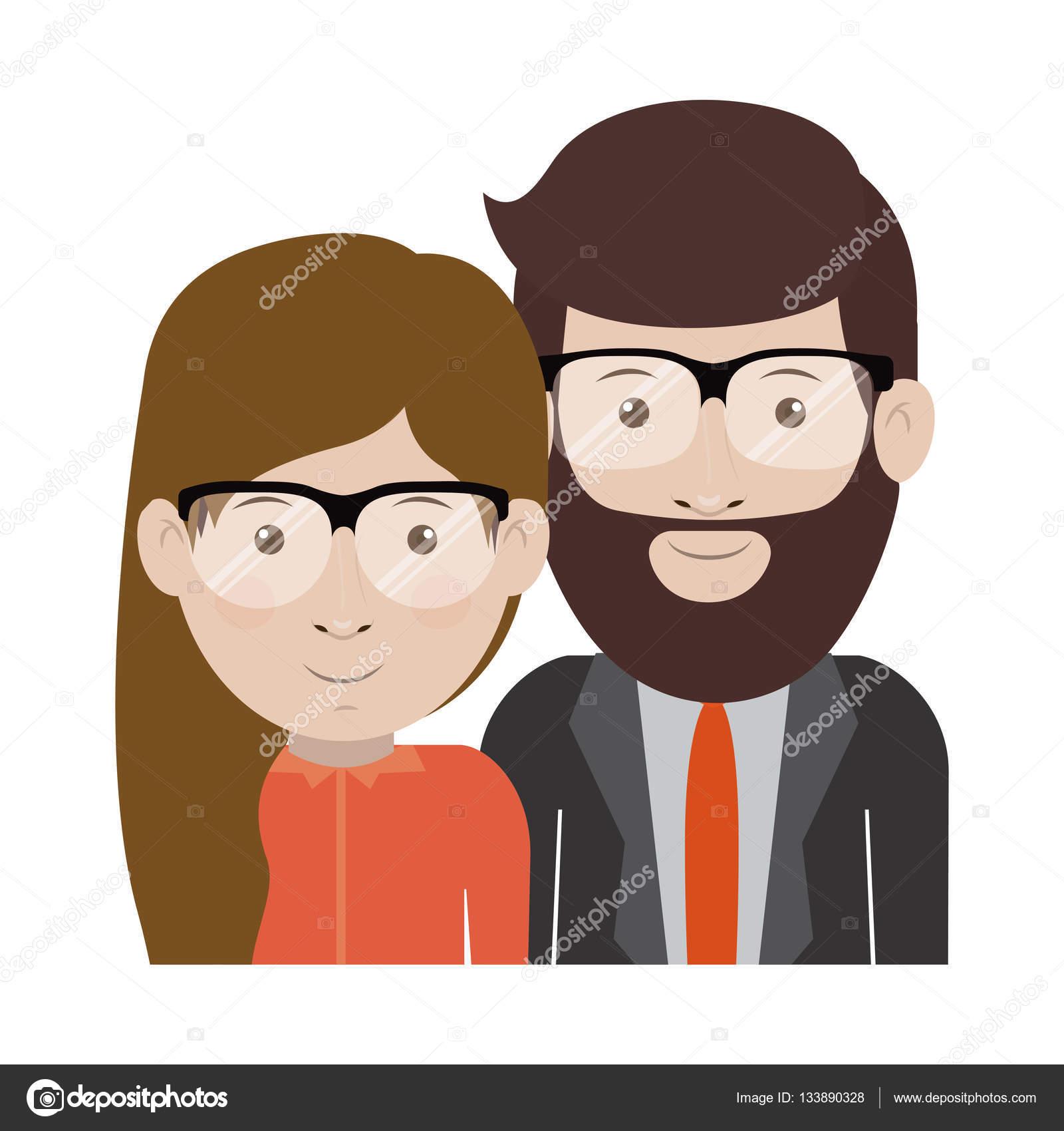 Dibujos Animados De Hombre Y Mujer Con Gafas De Diseño
