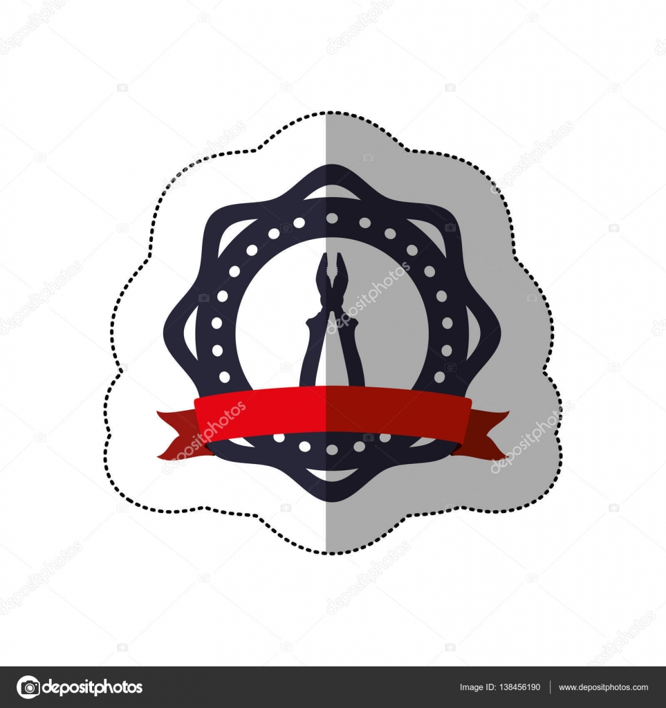 middle shadow sticker between circular shapes with plier and ribbon