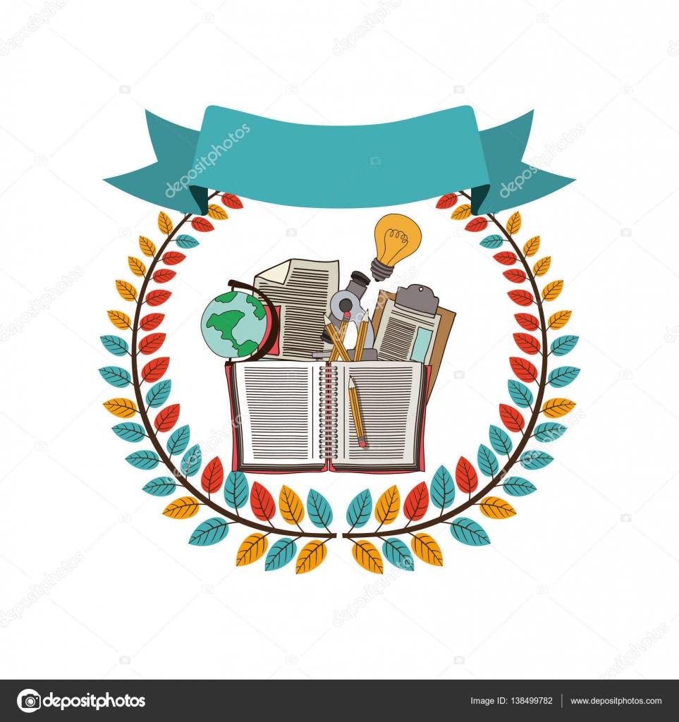 Barevné oliv koruna s pásu a škola poskytuje vektorové ilustrace — Vektor  od ... 8c4abfa9cf