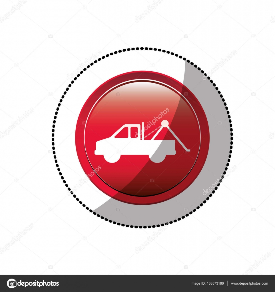 Dotted Sticker With Tow Truck Icon Stock Vector Grgroupstock