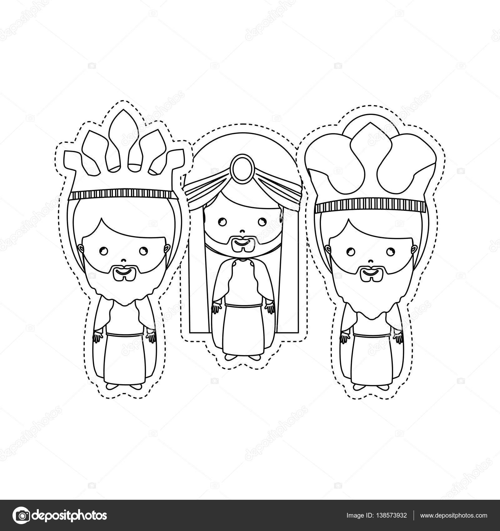 etiqueta engomada de puntos los tres Reyes Magos — Vector de stock ...