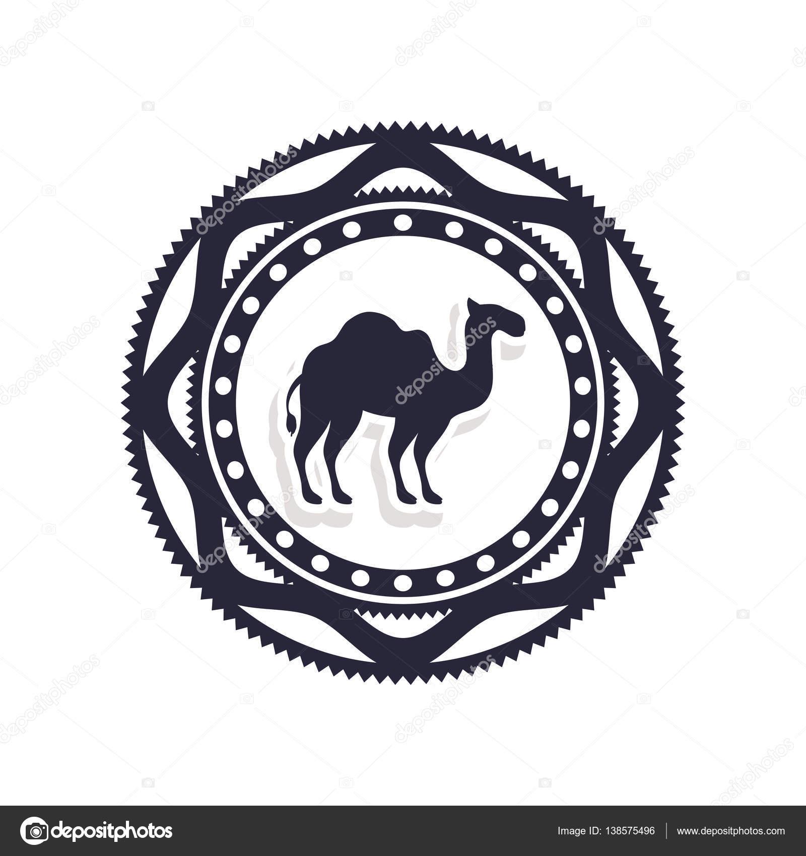 frontera de silueta con icono de camello — Vector de stock ...