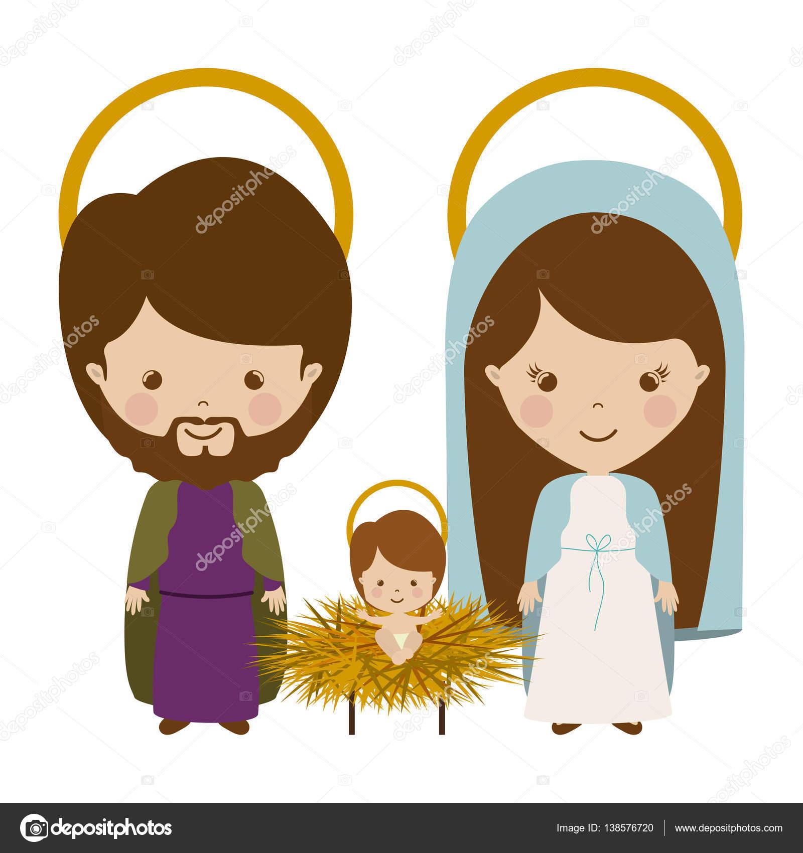 Sacred Family With Baby Jesus Cartoon Stock Vector