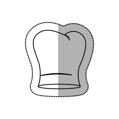 silhouette dotted sticker of chefs hat with medium shade and curved