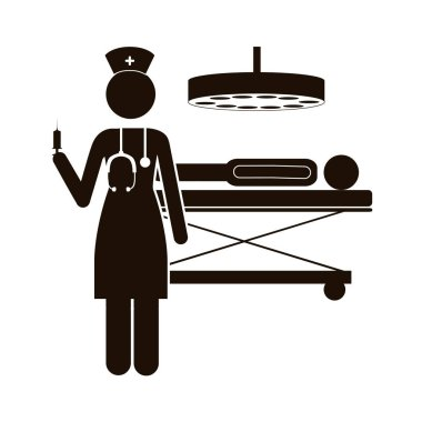 black silhouette nurse in operations room with pacient