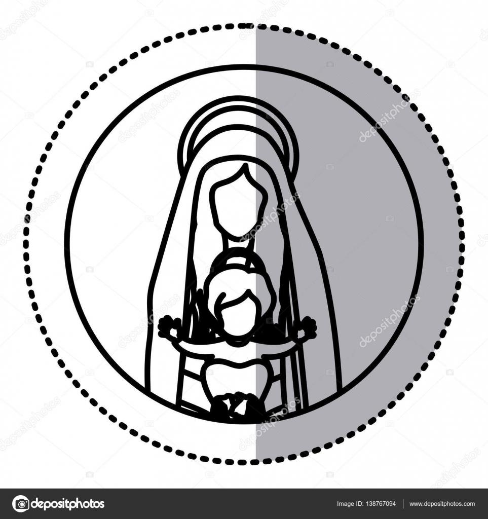 etiqueta engomada circular con contorno de medio cuerpo de Santa ...