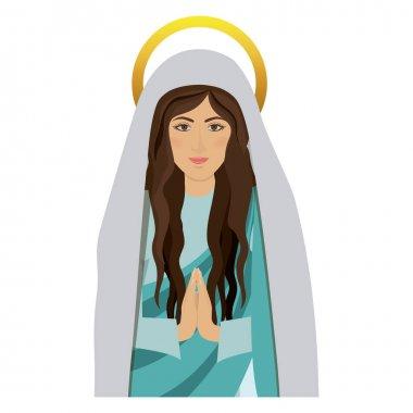 half body saint virgin mary praying