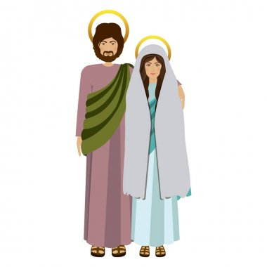 picture colorful virgin mary and saint joseph embraced