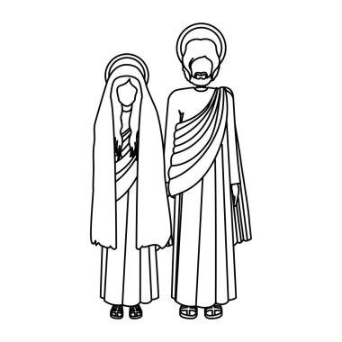 silhouette virgin mary and saint joseph standing