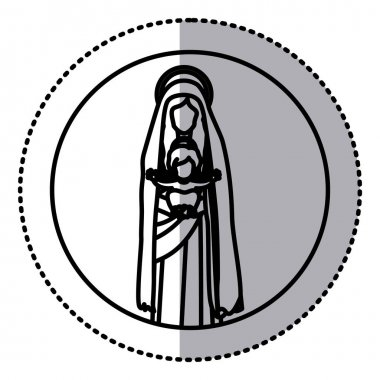 circular sticker with silhouette saint virgin mary with baby jesus