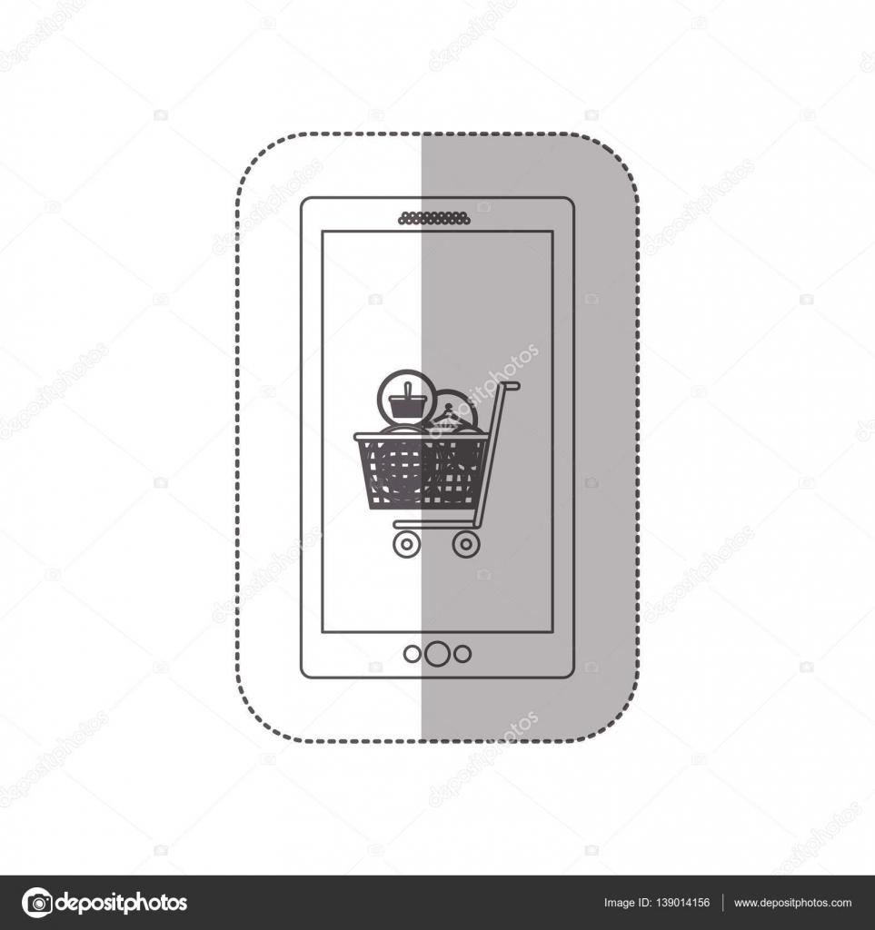 etiqueta engomada de media sombra en escala de grises con celular ...