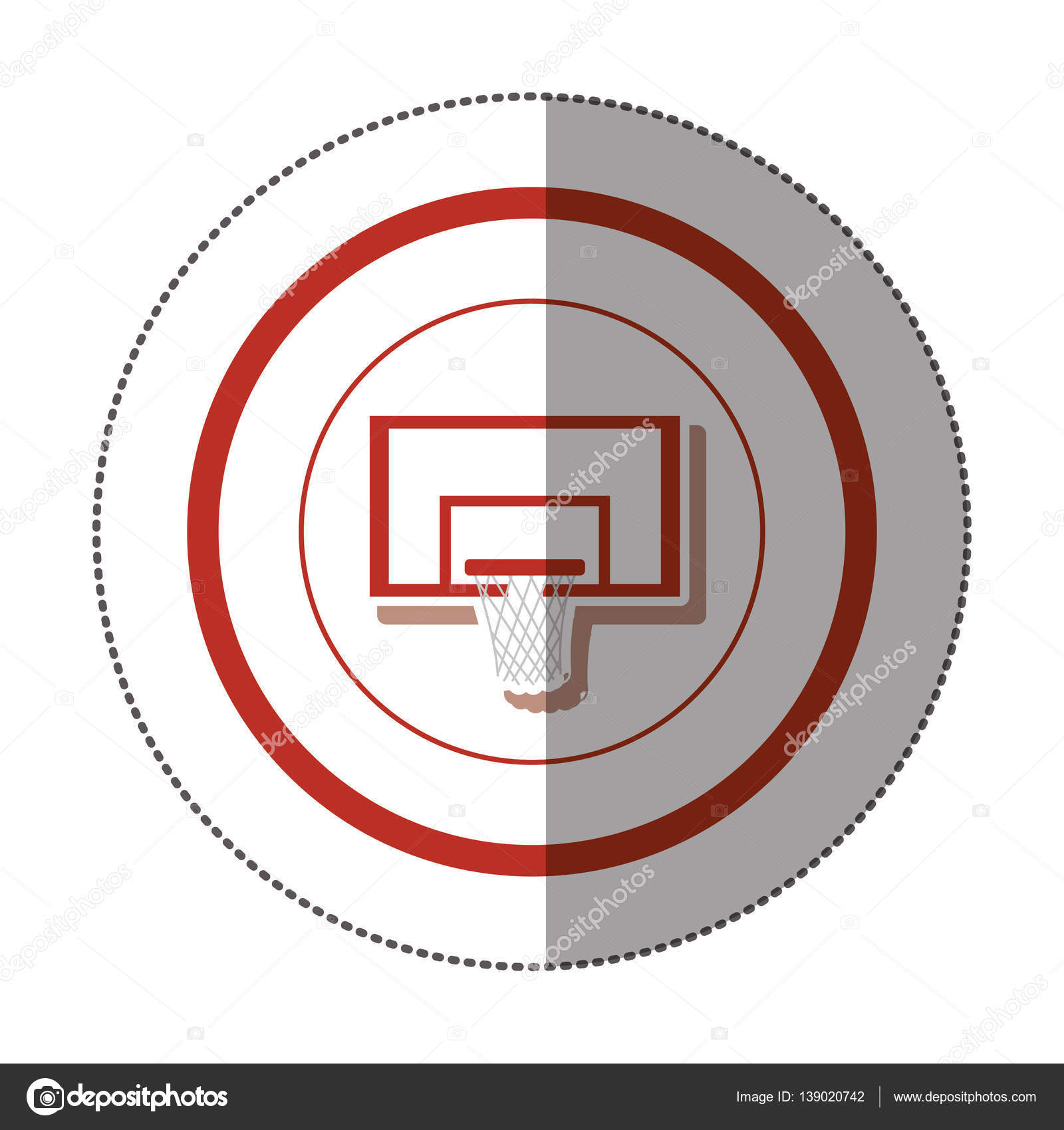 Sticker With Circular Shape Of Colorful Square Basketball Hoop Diagram Stock Vector