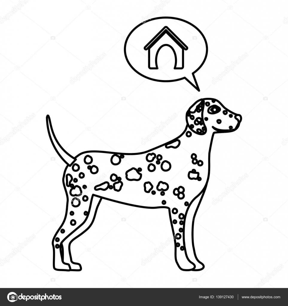Dalmaçyalı Köpek Düşünme Ev Ile Siyah Kontur Stok Vektör
