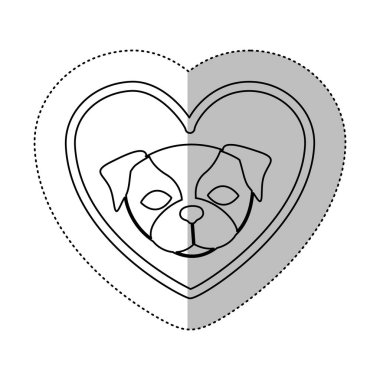 monochrome contour with middle shadow sticker with french bulldog inside of heart