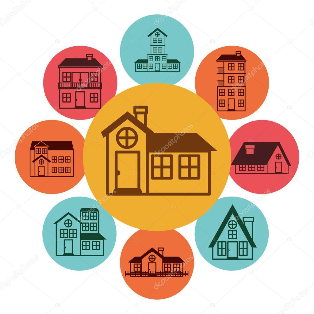 colorful pattern with houses logo design in bubbles