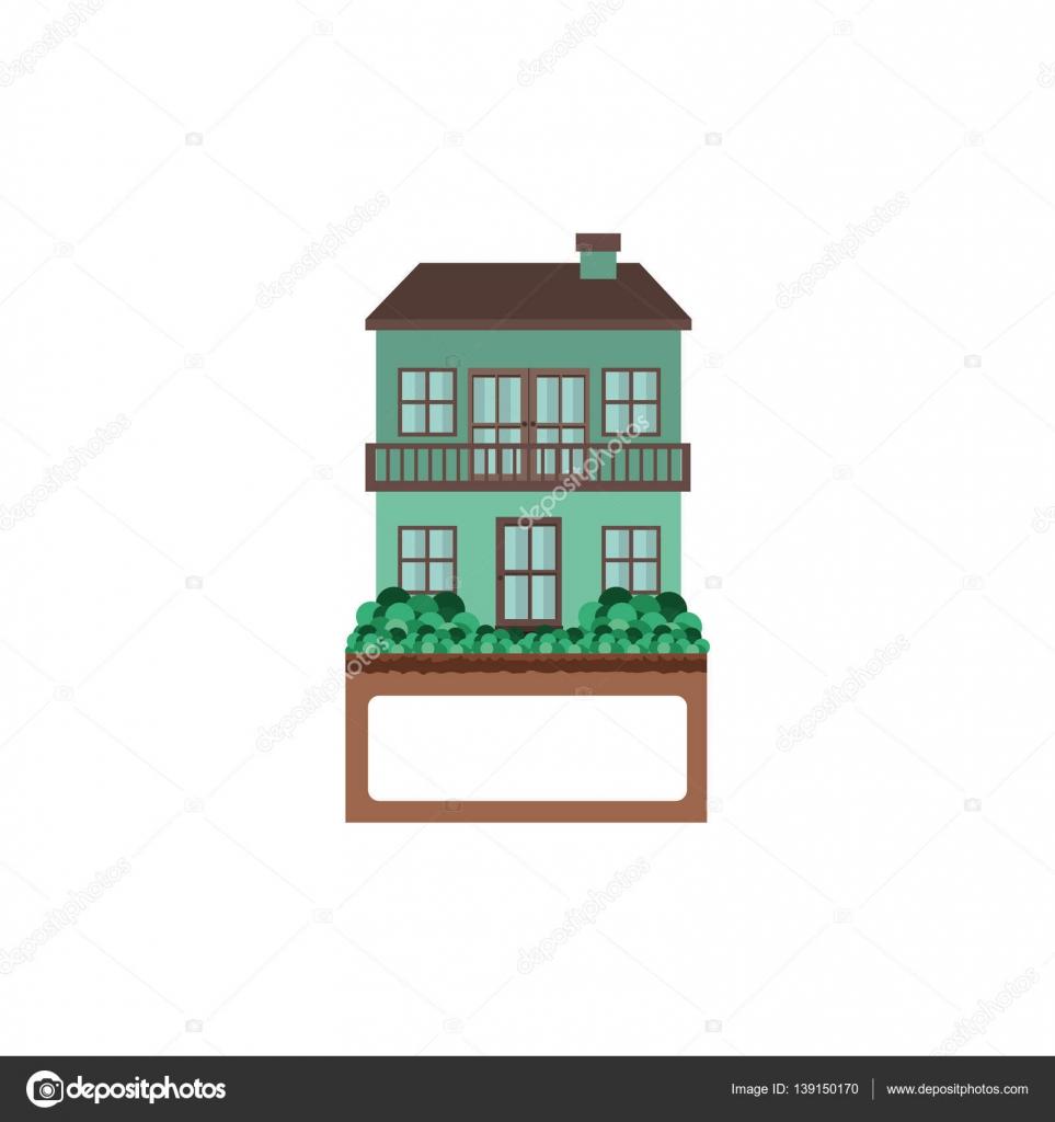 Casa Con Dos Pisos Y Terraza Archivo Imágenes Vectoriales