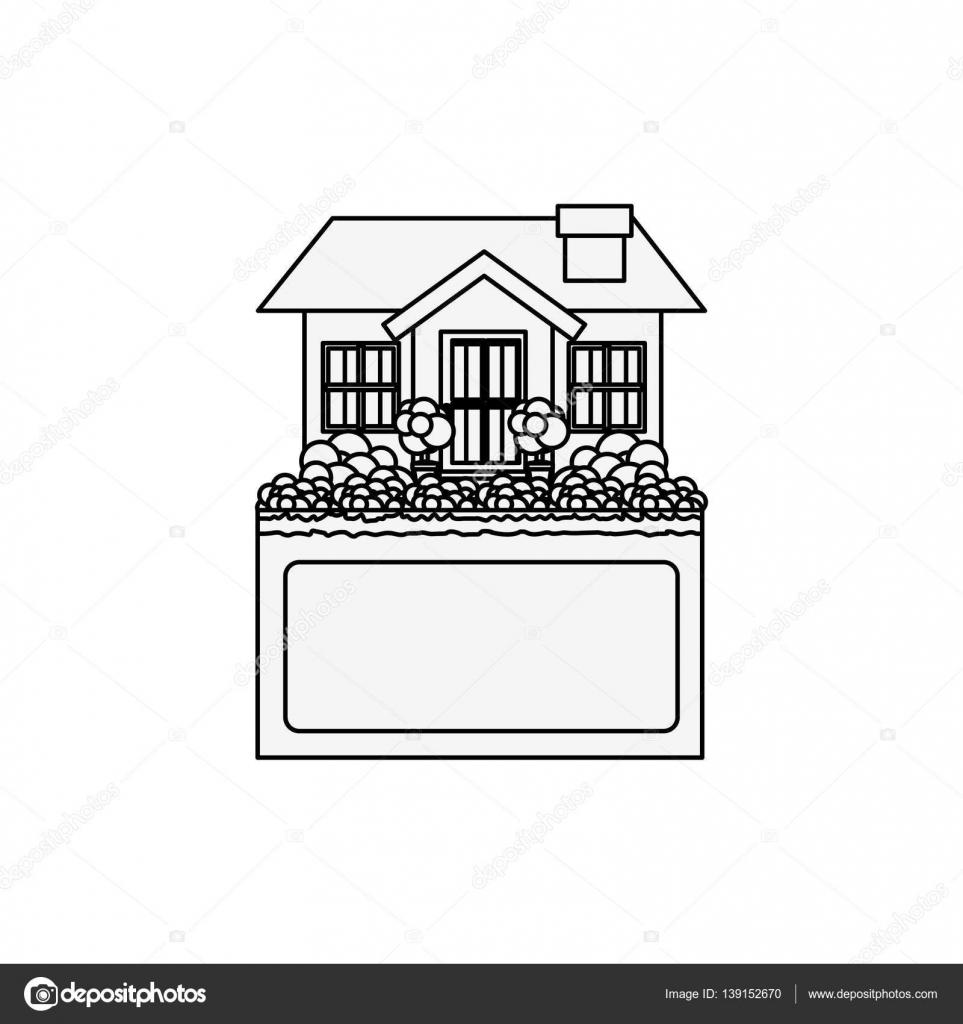 Perfect Silhouette Kleines Haus Design Mit Label U2014 Stockvektor #139152670