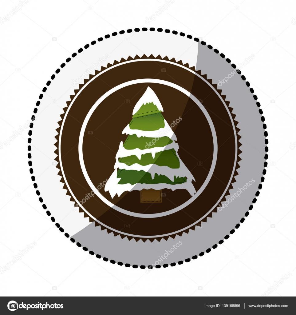Círculo de color con la etiqueta engomada de media sombra con árbol ...