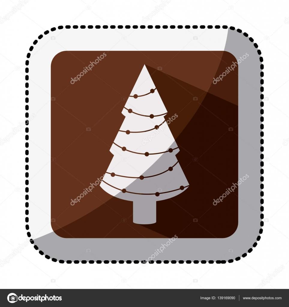 cuadrado de color con la etiqueta engomada de media sombra con árbol ...