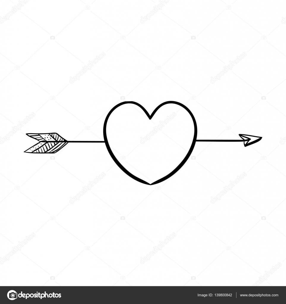 Silhouette-Herz mit Pfeil durchbohrt — Stockvektor © grgroupstock ...