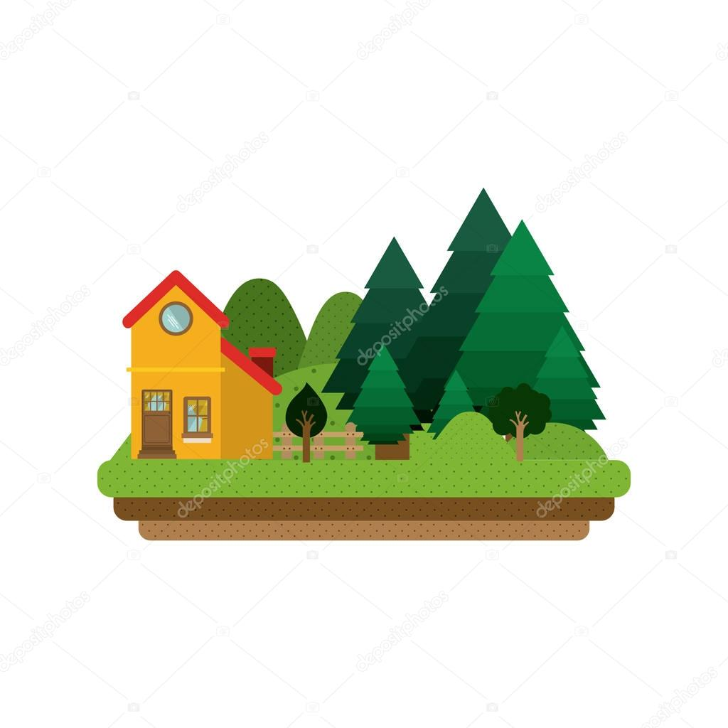 picture forest background with house