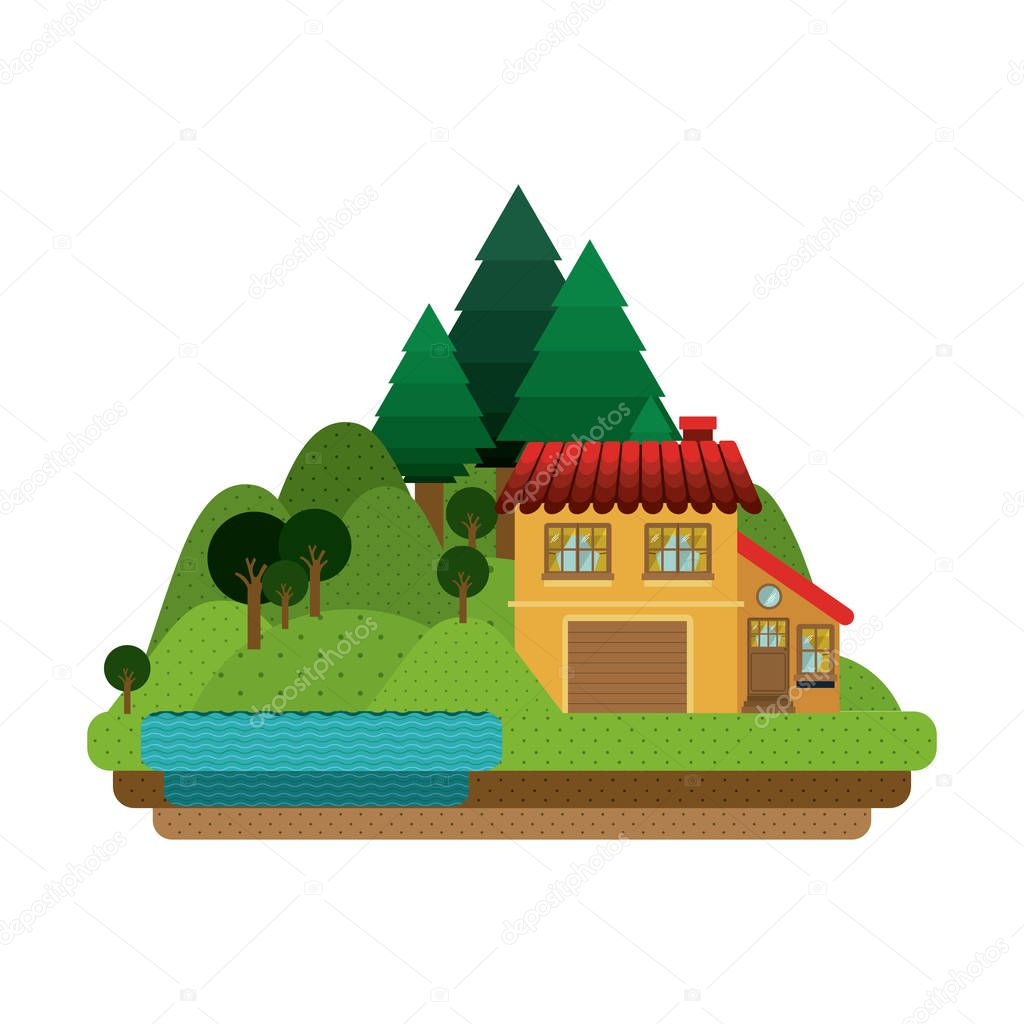 forest background with house with garage