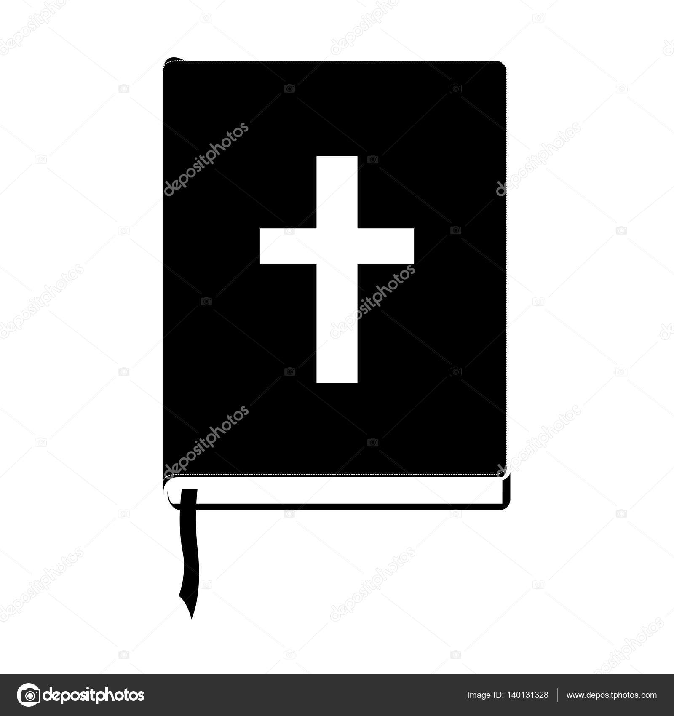 monochrome Silhouette mit Bibel mit Band — Stockvektor ...