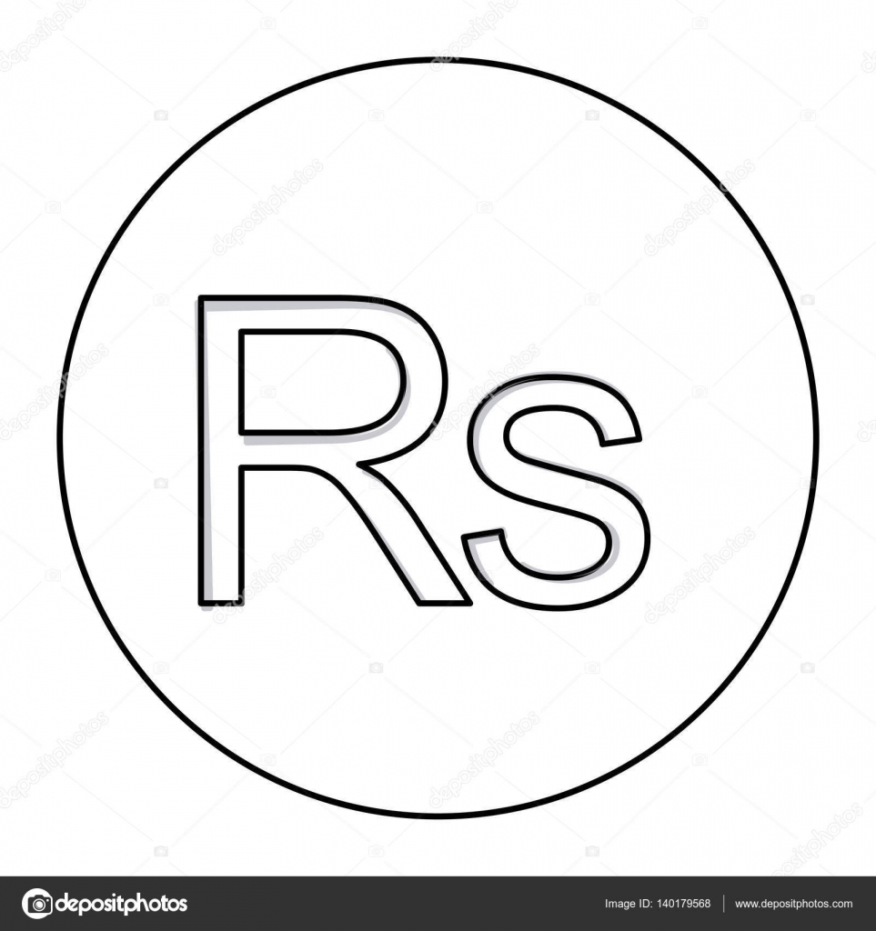 Monochrome Contour With Currency Symbol Of India Rupee In Circle