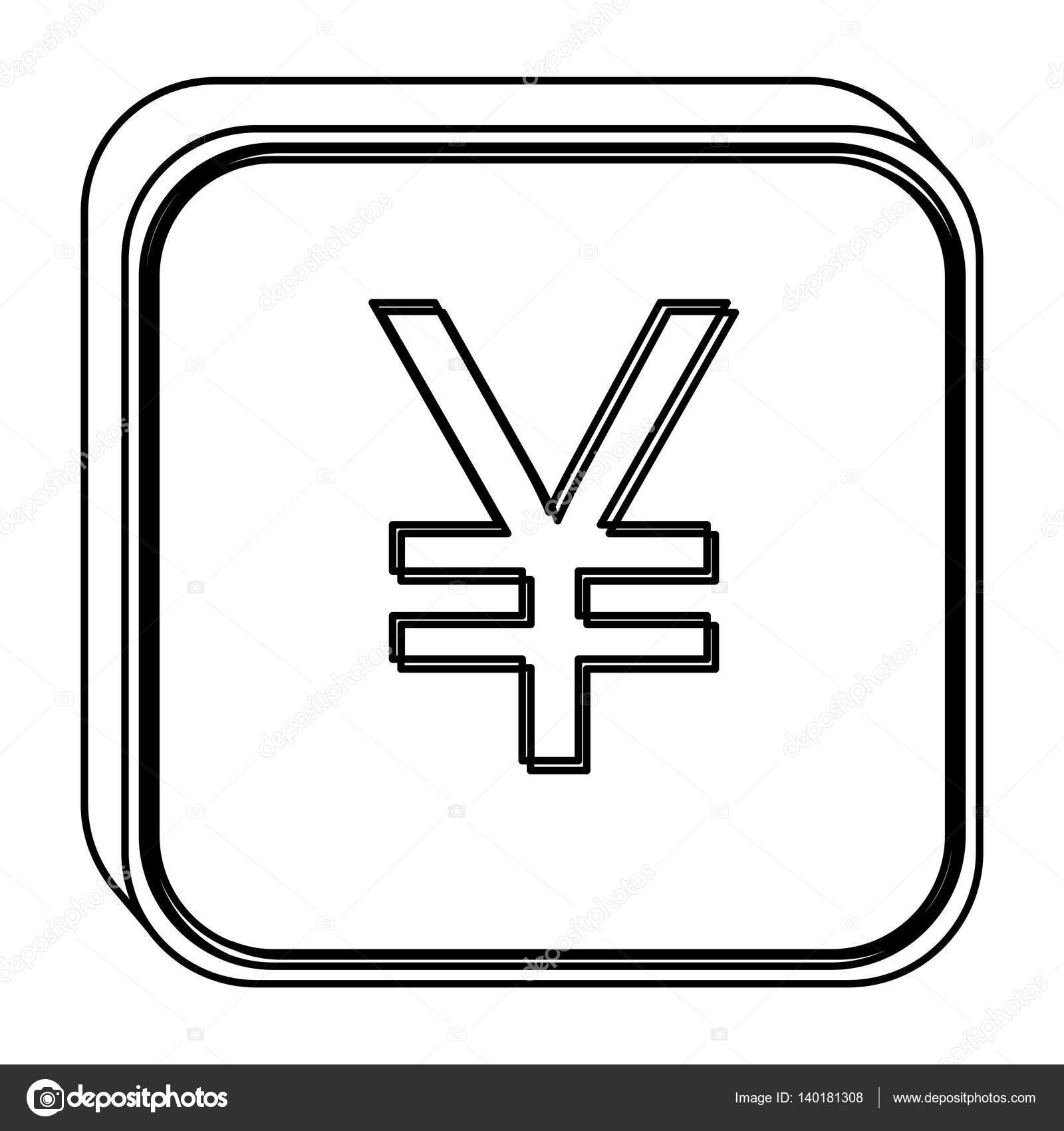 Monochrome Square Contour With Currency Symbol Of China Stock
