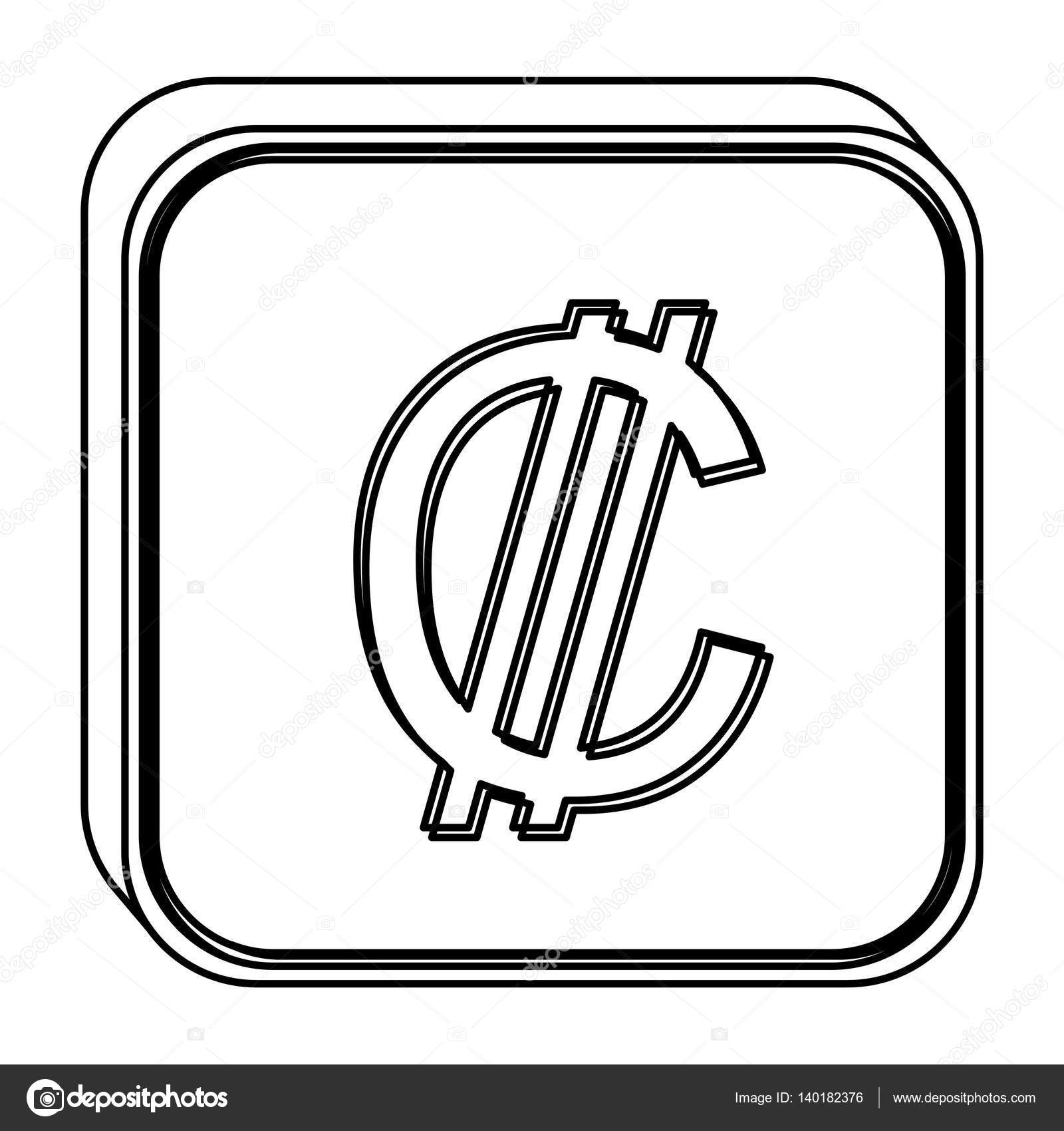 Monochrome Square Contour With Currency Symbol Of Colon Costa Rica