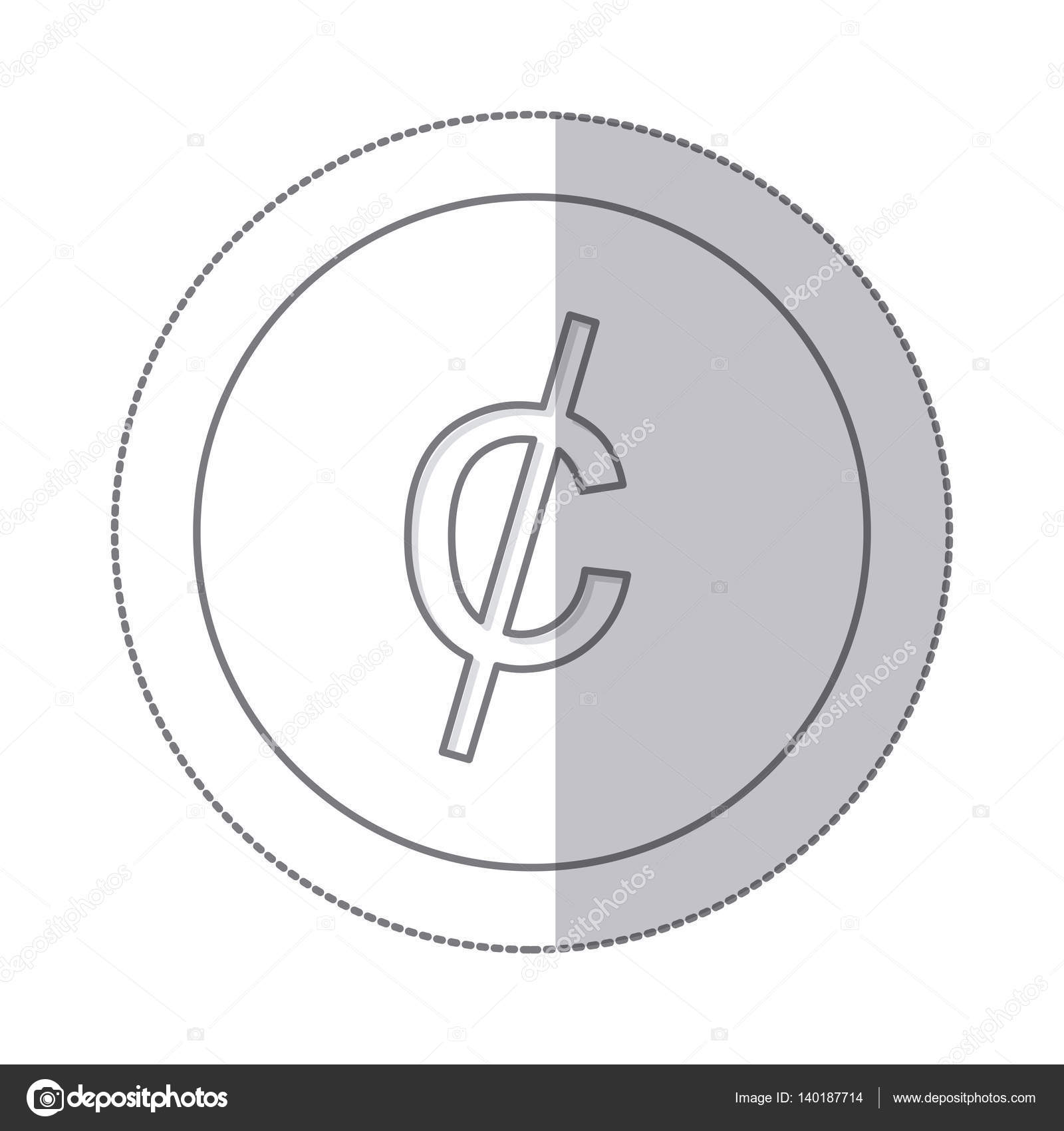 Middle Shadow Monochrome Circle With Currency Symbol Of Cent Stock