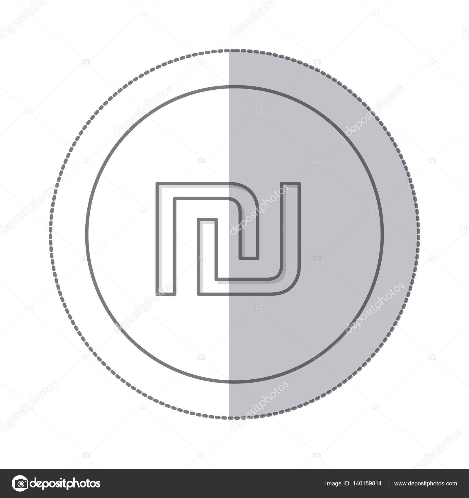 Middle Shadow Monochrome Circle With Currency Symbol Of Israel