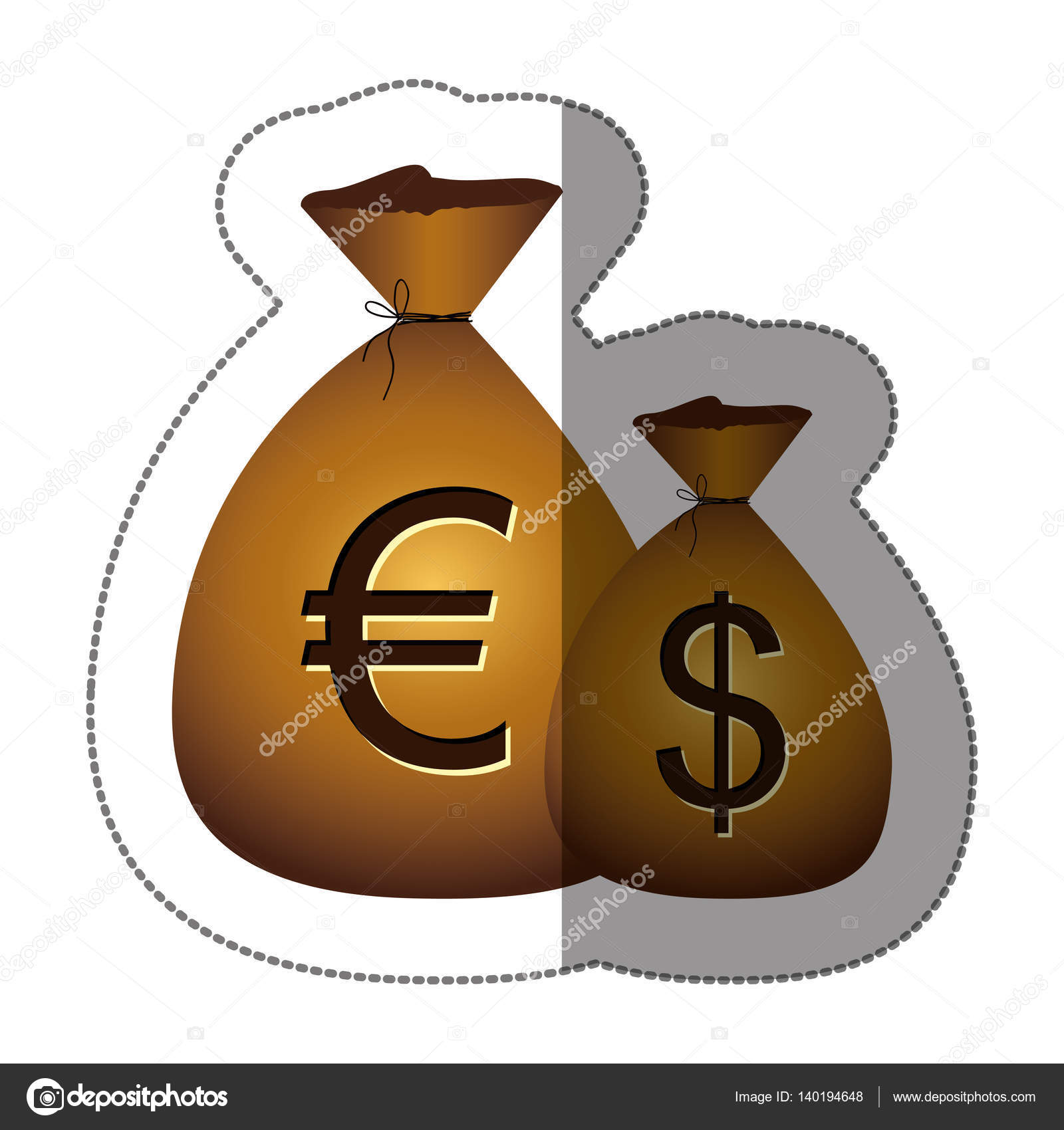 Sticker money bags with currency symbol dollar and euro stock sticker money bags with currency symbol dollar and euro stock vector buycottarizona Choice Image