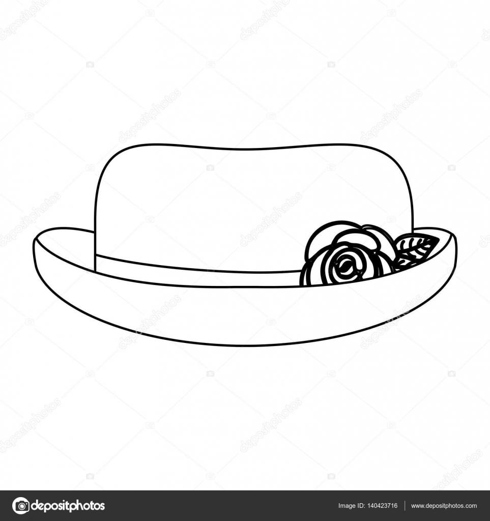 silhueta do laço chapéu rosas cloche design retro — Vetores de Stock ...