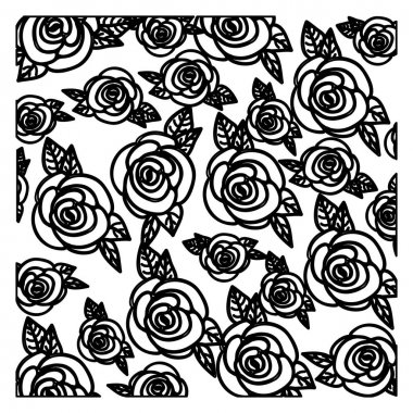 silhouette pattern roses floral design