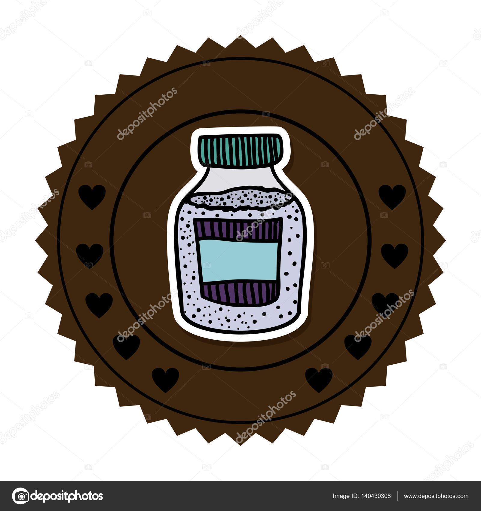 Farbe runden Rahmen mit Flasche mit Salz und Pfeffer — Stockvektor ...