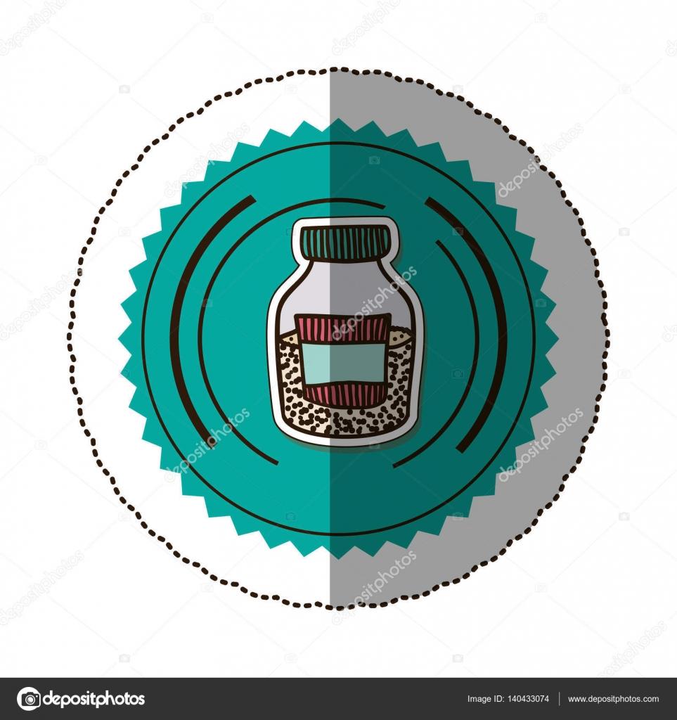 Aufkleber Farbe runder Rahmen mit halbe Flasche mit Salz und Pfeffer ...