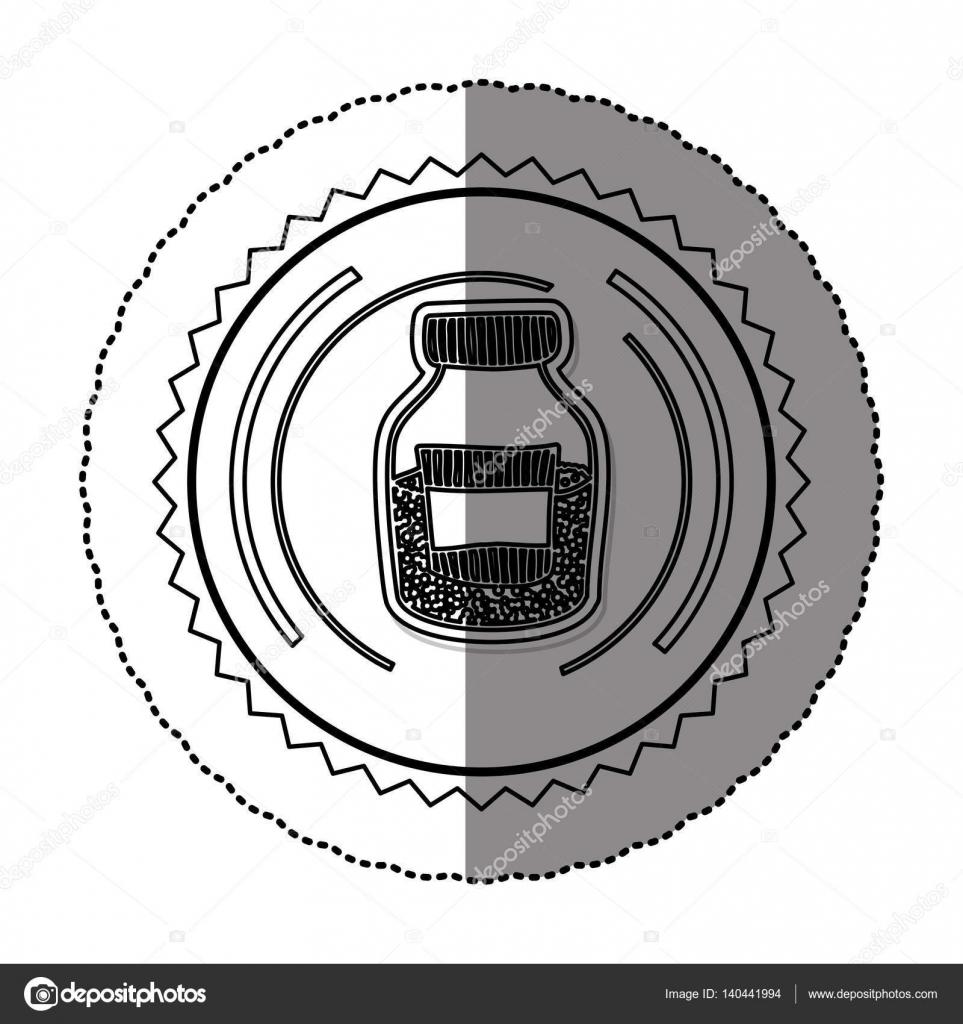 einfarbige Aufkleber runder Rahmen mit halbe Flasche mit Salz und ...