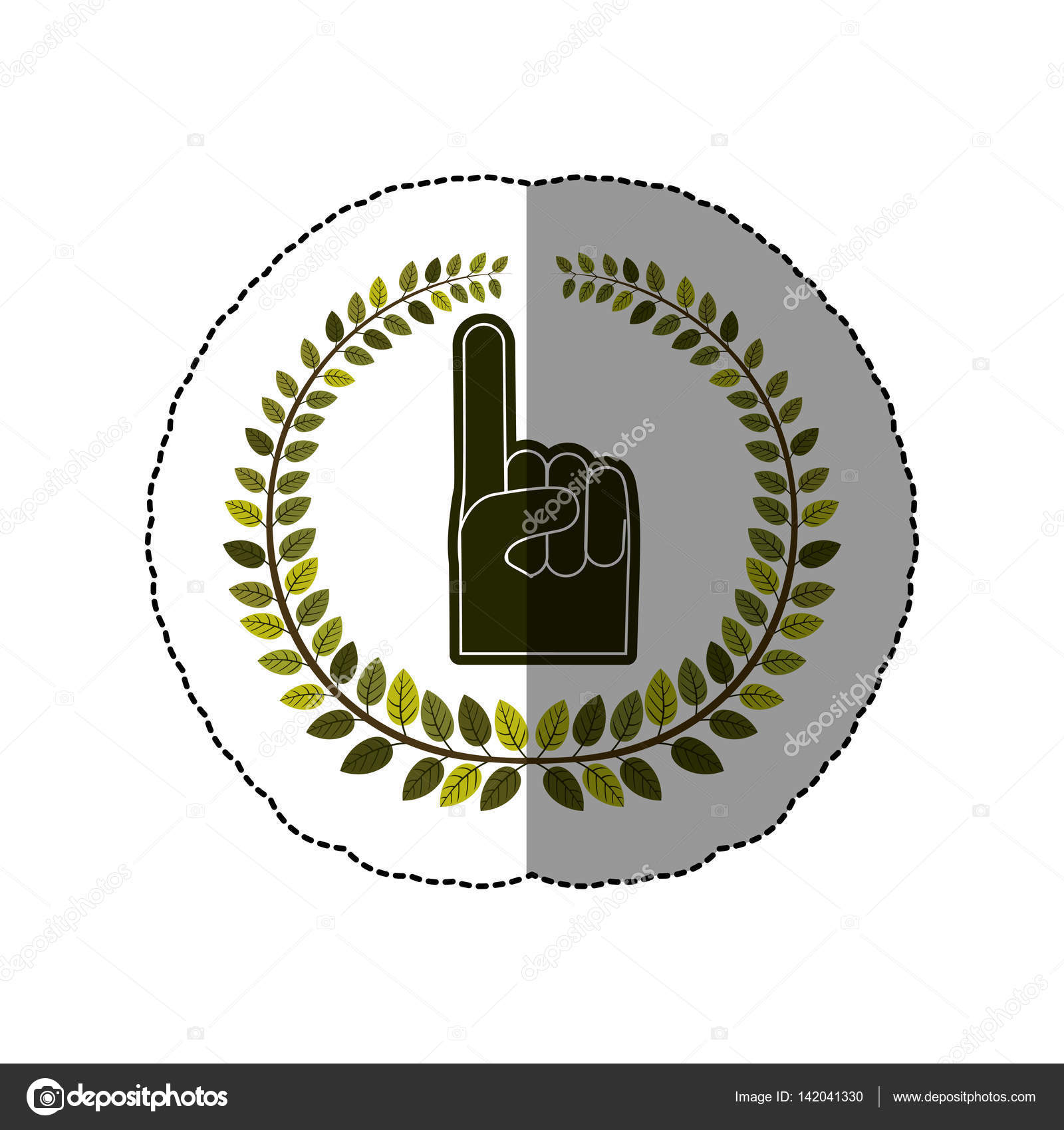 Emblem Hand You Are Here Symbol Stock Vector Grgroupstock 142041330