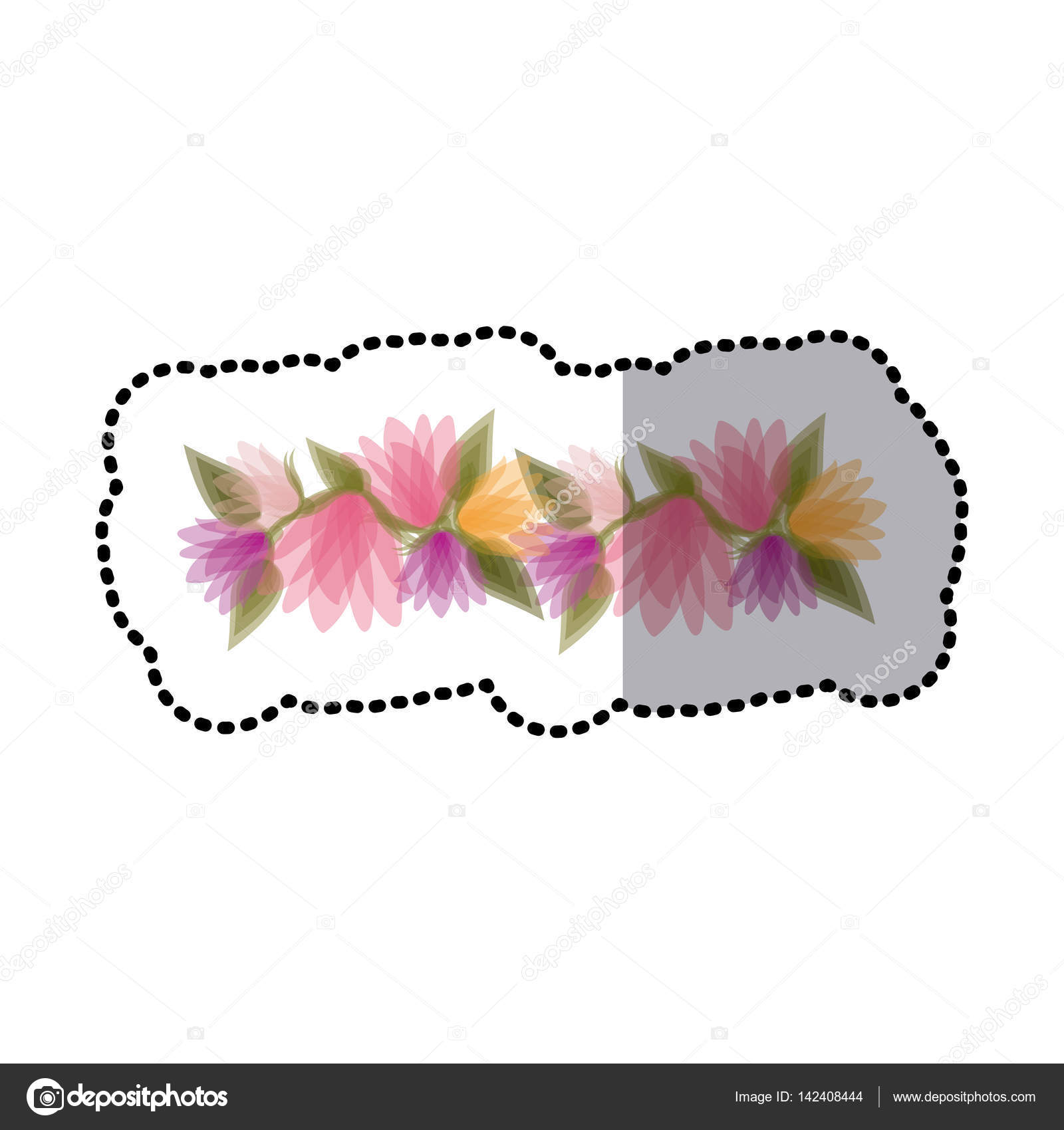 Sticker blurred crown of bud flowers with leaves stock vector sticker blurred crown of bud flowers with leaves stock vector izmirmasajfo