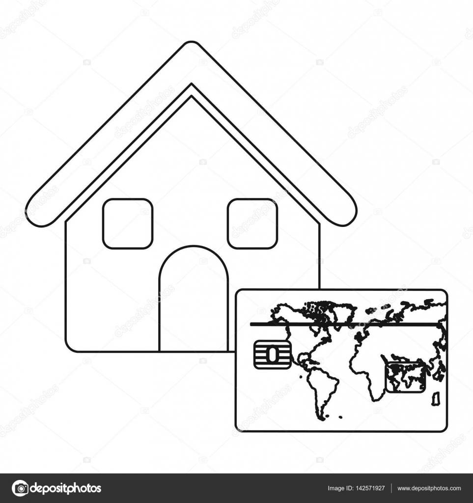 casa contorno monocromo con el mapa de la estructura del mundo ...