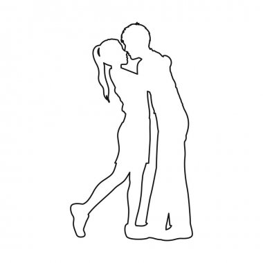 monochrome contour with couple embracing and kissing