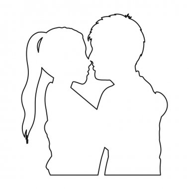 monochrome contour with half body couple hugged