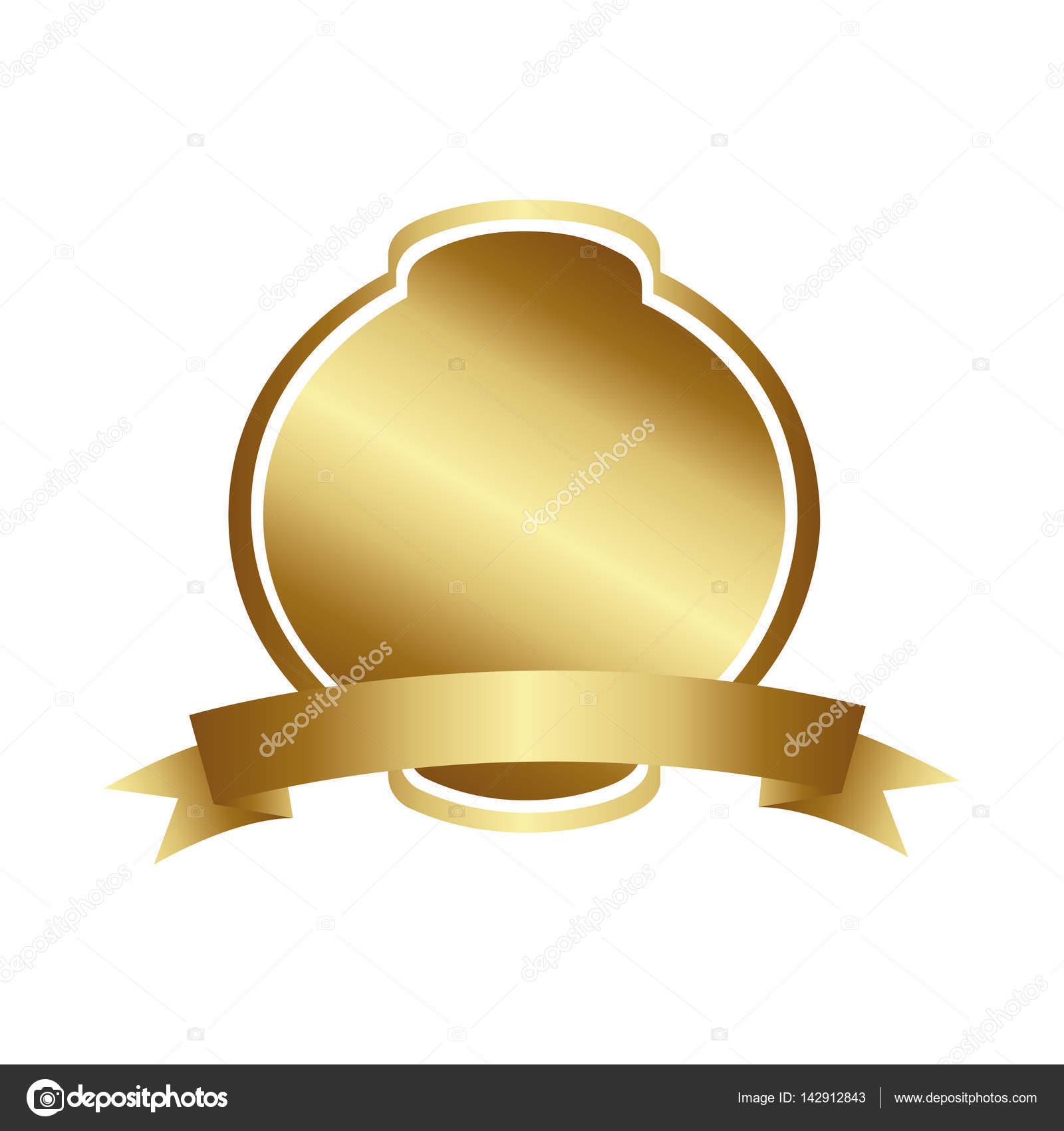 diseño de marco redondeado heráldico decorativo dorado con cinta ...