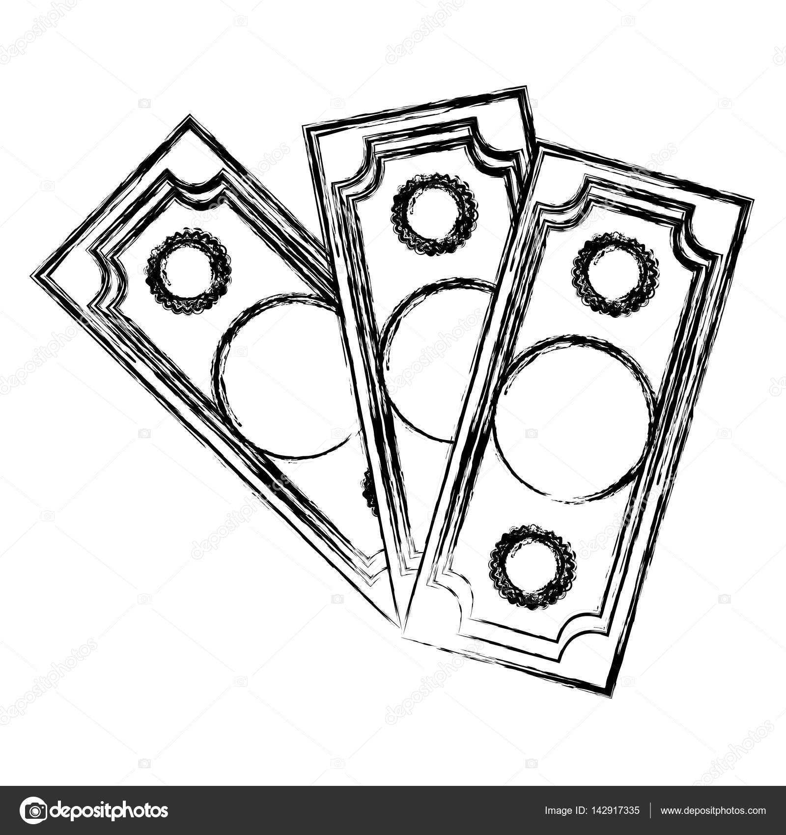 Verschwommene Silhouette Set Sammlung Geldscheine Stockvektor