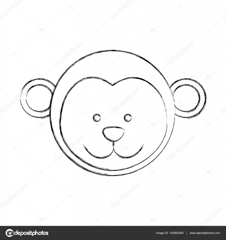 Tek Renkli Dağılımı Ile Erkek Maymun Kafası Bulanık Stok Vektör